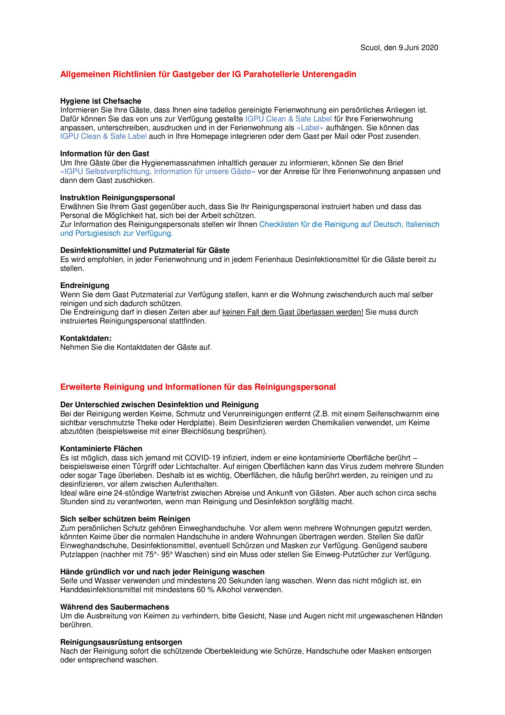 Allgemeinen Richtlinien für Gastgeber der IG Parahotellerie Unterengadin